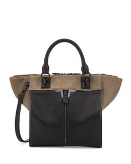 Danielle Nicole Colorblock Faux-Leather Zip-Front Tote Bag, Gray/Black