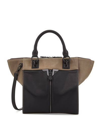 Danielle Nicole Colorblock Faux-Leather Zip-Front Tote Bag, Gray/Black