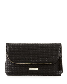Danielle Nicole Quilted Faux-Leather Fold-Over Clutch Bag, Black