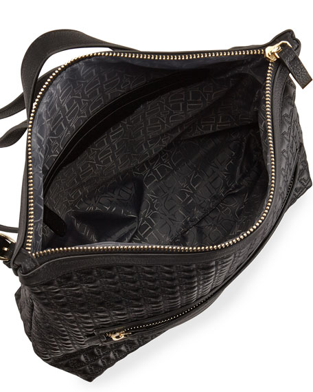 Quilted Zip-Top Backpack, Black