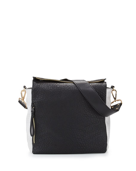 So Fresh Colorblock Faux-Leather Hobo Bag, Black/White