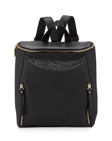 So Fresh Double-Zip Faux-Leather Backpack, Black