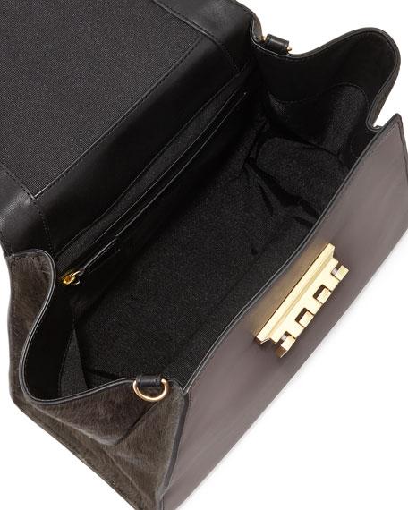 Eartha Colorblock Calf Hair Satchel Bag, Shadow