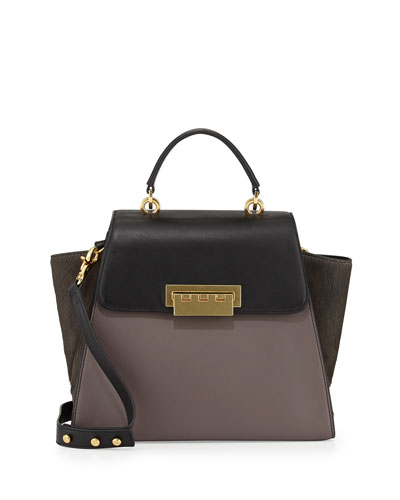 ZAC Zac Posen Eartha Colorblock Calf Hair Satchel Bag, Shadow