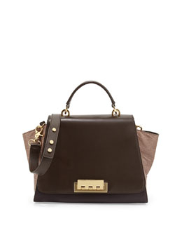 Z Spoke Zac Posen Eartha Colorblock Croc-Embossed Long-Flap Satchel Bag, Prune/Tan