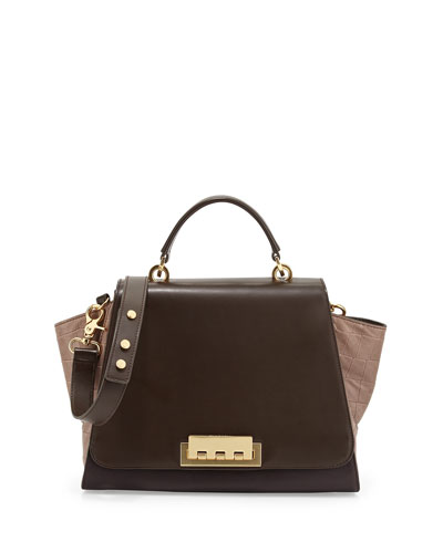ZAC Zac Posen Eartha Colorblock Croc-Embossed Long-Flap Satchel Bag, Prune/Tan