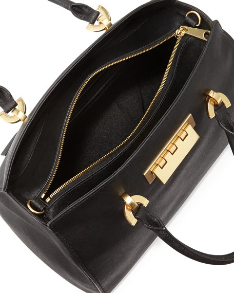 Eartha Saffiano Leather Barrel Satchel Bag Black