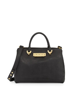 Z Spoke Zac Posen Eartha Saffiano Leather Barrel Satchel Bag, Black