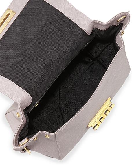 Eartha Small Saffiano Satchel Bag, Thistle