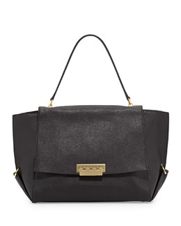 Z Spoke Zac Posen Eartha Saffiano Flap-Top Satchel Bag, Black