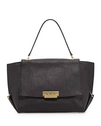 ZAC Zac Posen Eartha Saffiano Flap-Top Satchel Bag, Black