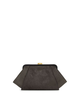Z Spoke Zac Posen Posen Angled Calf Hair Clutch Bag, Shale