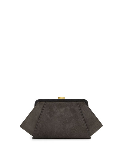 ZAC Zac Posen Posen Angled Calf Hair Clutch Bag, Shale
