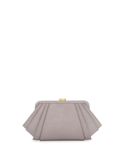 ZAC Zac Posen Posen Angled Saffiano Leather Clutch Bag, Thistle
