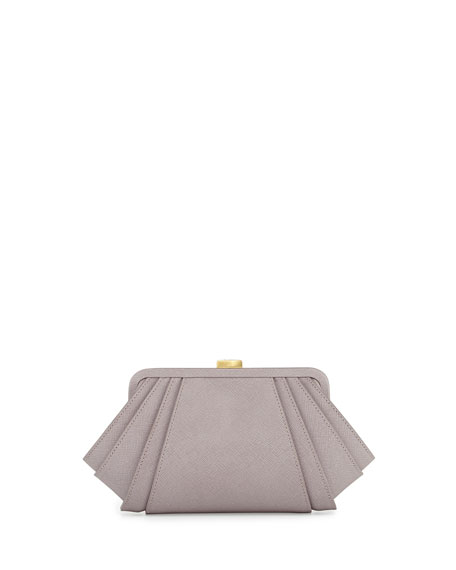 Posen Angled Saffiano Leather Clutch Bag, Thistle