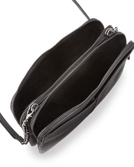 BCBGMAXAZRIA Snake-Embossed Napa Leather Double Crossbody Bag, Black