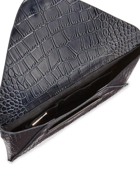 Harlow Croc-Embossed Envelope Clutch Bag, Dark Navy