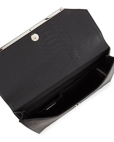 Snake-Embossed Envelope Clutch Bag, Black