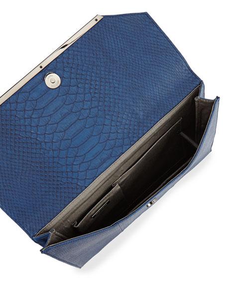Snake-Embossed Envelope Clutch Bag, Cobalt