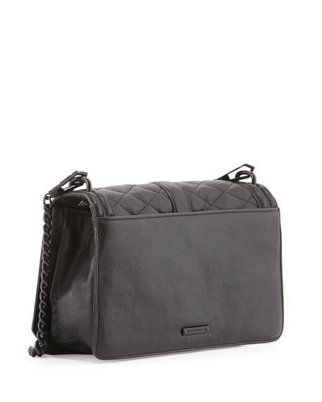 Love Quilted Turn-Lock Crossbody Bag, Black