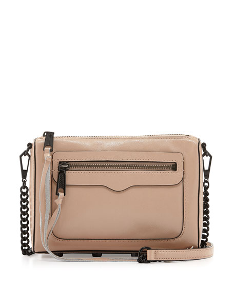Avery Saffiano Crossbody Bag, Latte