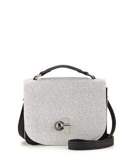 Danielle Nicole Colorblock Faux-Saffiano Crossbody Bag, White/Black