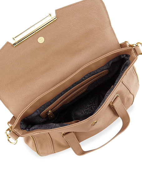 Faux-Leather Flap Satchel Bag, Tan