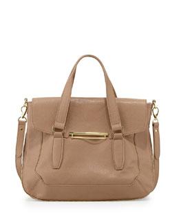 Danielle Nicole Faux-Leather Flap Satchel Bag, Tan