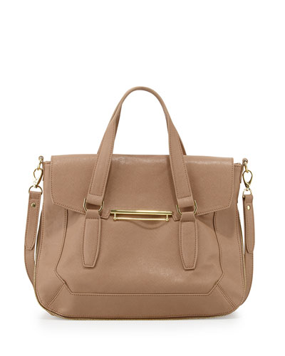 Danielle Nicole Faux-Leather Flap Satchel Bag, Tan