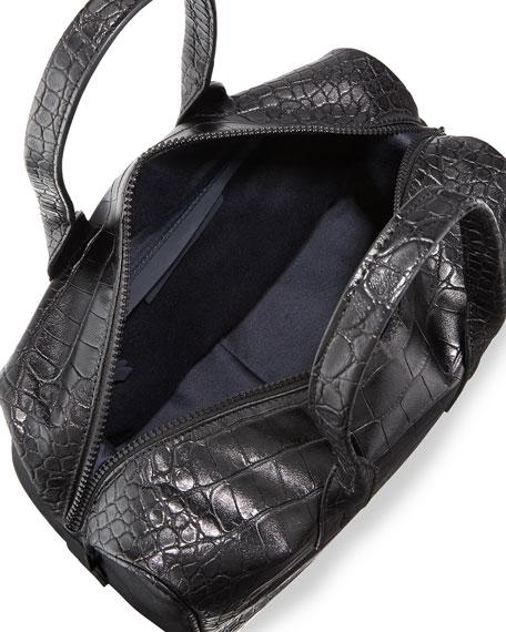 Lady Croc-Embossed Faux-Leather Satchel Bag, Black