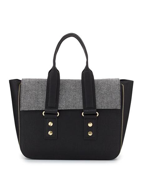 Elite Tweed Flap-Top Satchel Bag, Black