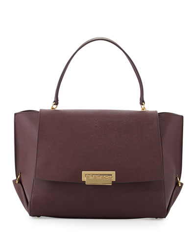 ZAC Zac Posen Eartha Saffiano Flap-Top Satchel Bag, Vineyard