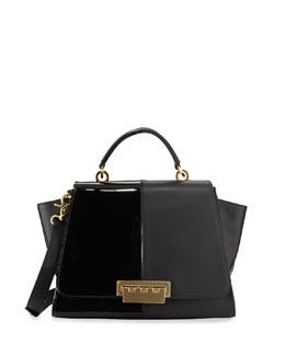 ZAC Zac Posen Eartha Contrast Textured Long-Flap Satchel Bag, Black
