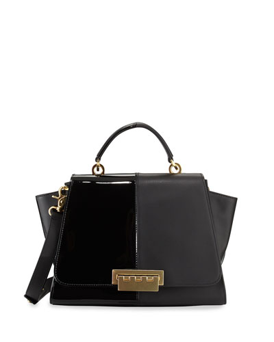ZAC Zac Posen Eartha Contrast Textured Long-Flap Satchel Bag, Black