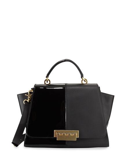 Eartha Contrast Textured Long-Flap Satchel Bag, Black