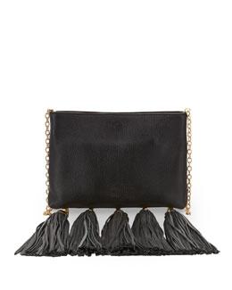 ZAC Zac Posen Claudette Leather Tassel Crossbody Bag, Black