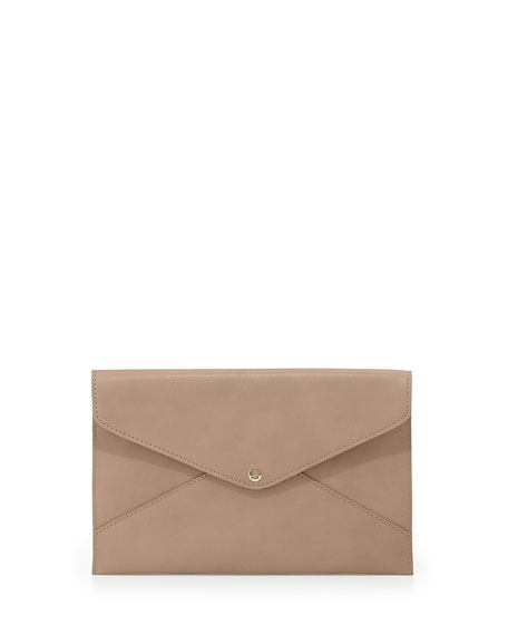 Tina Faux-Leather Envelope Clutch, Nude