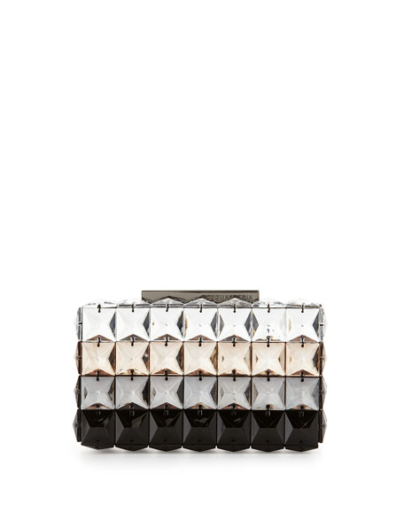 Lulu Square Crystal Clutch Bag, Stone Ombre