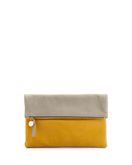Clare Vivier Two-Tone Tumbled Leather Fold-Over Clutch Bag, Gray/Yellow