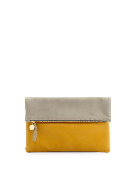 Two-Tone Tumbled Leather Fold-Over Clutch Bag, Gray/Yellow