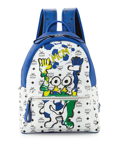 MCM München Cute Monsters Soccer Special Edition Backpack, White