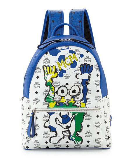 Munchen Cute Monsters Soccer Special Edition Backpack, White