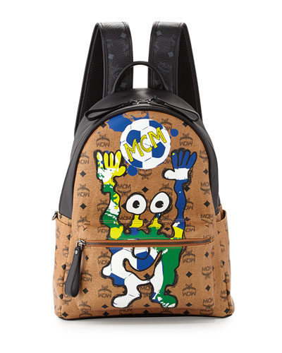 MCM München Cute Monsters Soccer Special Edition Backpack, Cognac