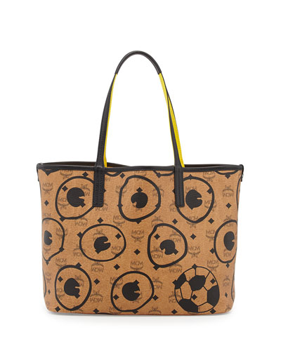 MCM Soccer Special Edition Visetos Shopper Tote Bag, Cognac