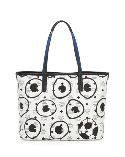 MCM Soccer Special Edition Visetos Shopper Bag, White