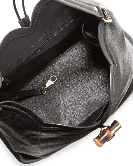 Tia Leather Hobo Bag, Black