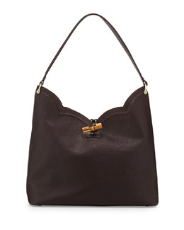 Eric Javits Tia Leather Hobo Bag, Chocolate
