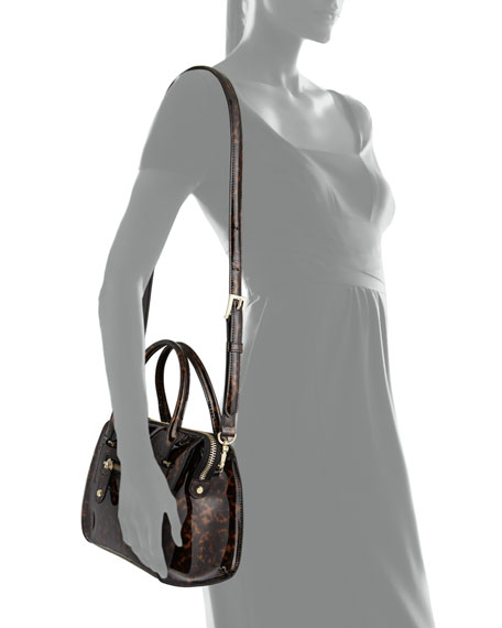 Tortoise Patent Satchel Bag, Tortoise