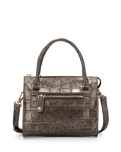 Metallic Croc-Print Satchel Bag, Pewter