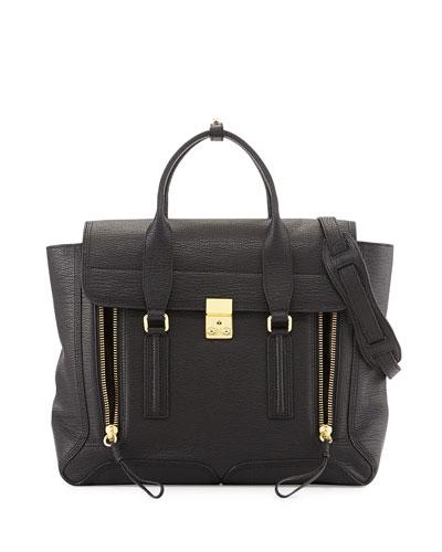 3.1 Phillip Lim Pashli Large Zip Satchel Bag, Black